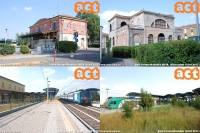 """Saluti da Mirandola, dove troviamo la stazione """"Mirandola SEFTA"""", con annessa sottostazione, appartenuta alla linea Modena-Mirandola, tristemente chiusa nel 1965 e trasformata in autostazione. Incontriamo poi l'attuale stazione, ora fermata, lungo la linea Bologna-Verona. Foto Carlo Ferrone"""