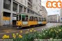 Anche i fiori si adeguano ai colori dei tram di Milano, 1861 tram dell'innovazione in piazza Missori. ATM celebra inoltre le Cinque Giornate di Milano, dal 18 al 22 marzo 1848, addobbando i mezzi con le bandierine. (18-03-'18)