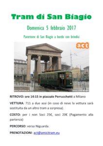 volantino del tram ACT di San Biagio 2017
