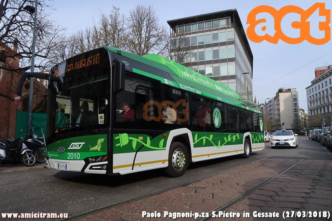 ATM: in servizio il primo bus elettrico n°2010