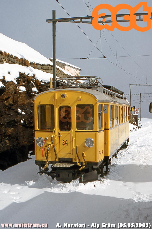 Treno Speciale ACT con ABe4 34 ad Alp Grüm. 5 maggio 2002 Foto Alessandro Muratori